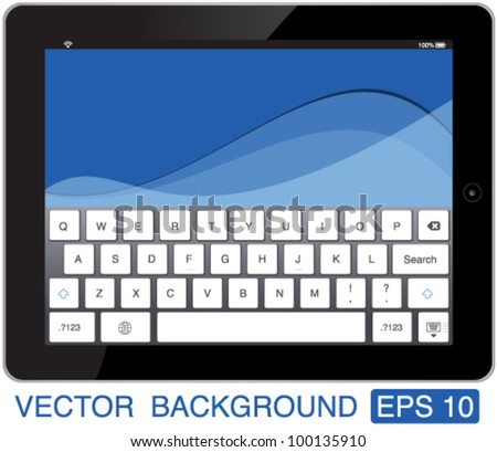 vector illustration black touch-pad with keyboard - stock vector