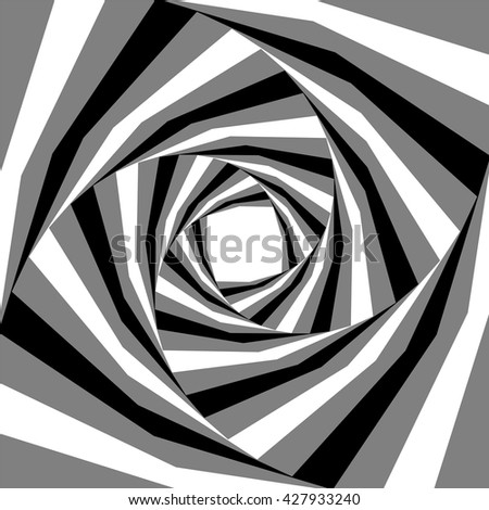 Vector Illustration. Black, White and Grey Striped Helix  Expanding from the Center. Visual Effect of Depth and Volume. Suitable for Web Design. - stock vector