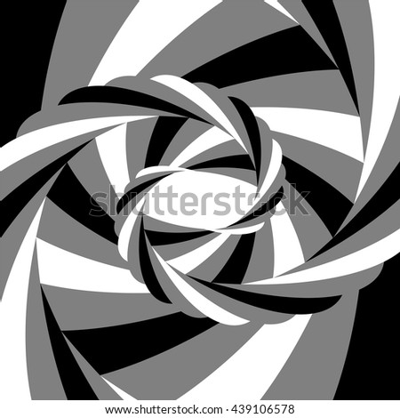 Vector Illustration.Black, White and Grey Striped Vortex Converging to the Center. Optical Illusion of Depth and Motion. Abstract Background. Suitable for Web Design. - stock vector