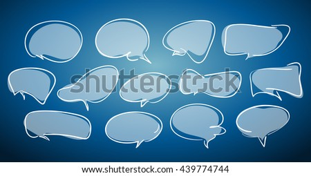 Vector illustration: Blank empty light hand-drawn speech bubbles on blue background - stock vector