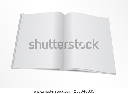 Vector illustration. Blank opened magazine template.