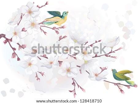 Vector illustration blooming cherry tree in watercolor technique. EPS8 - stock vector
