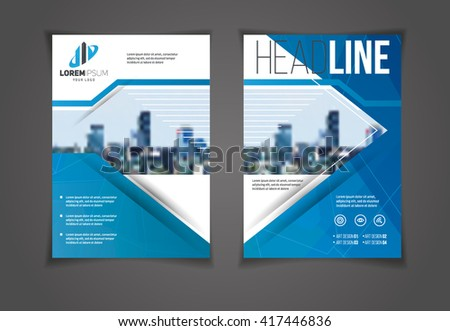 vector illustration blue annual report brochure template flyer design presentation templates leaflet cover