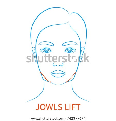 Jowls stock images royalty free images vectors shutterstock vector illustration blue contour hand drawn asian female face plastic surgery icon with inscription jowls ccuart Image collections