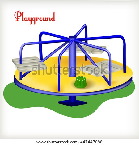 Vector illustration. Blue merry-go-round on the playground - stock vector