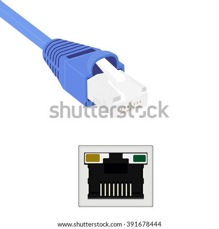 Vector illustration blue realistic ethernet network cable and port. Cable icon. Ethernet connector for mobile apps, web sites - stock vector