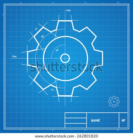 Vector illustration blueprint  and drawing, sketch gear card, development concept.  - stock vector