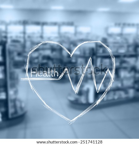 Vector illustration. Blurred background photo pharmacies. Sketch - Heart beat