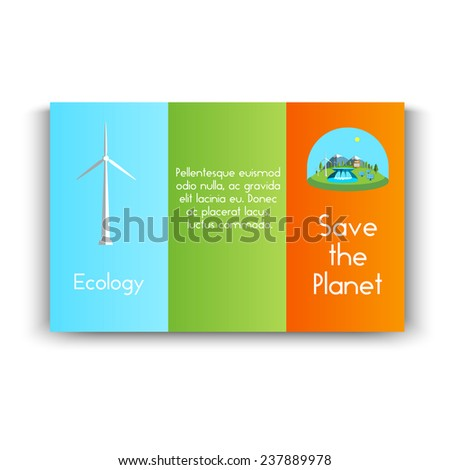 Vector illustration  booklet with green energy. Wind turbines, hydroelectric power, solar panels, power, nature. - stock vector