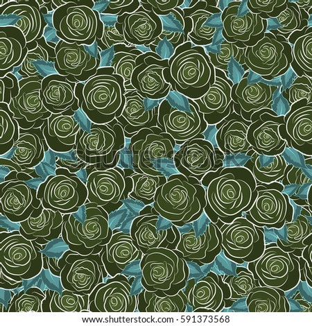 Vector illustration. Bouquets of green roses. Seamless pattern.