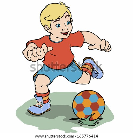 Vector illustration, boy playing soccer, cartoon concept, white background. - stock vector