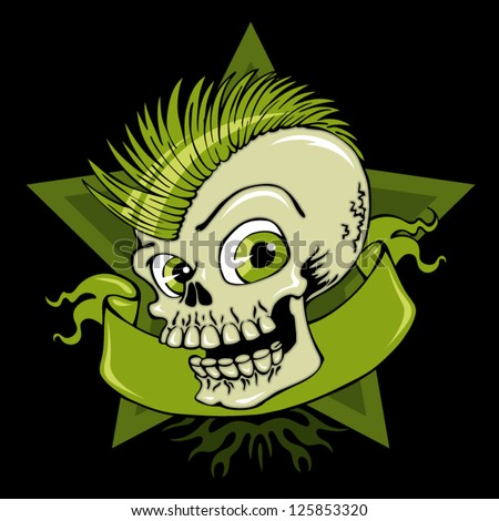 Vector illustration boy skull with green color on black background - best for print on t-shirt - stock vector