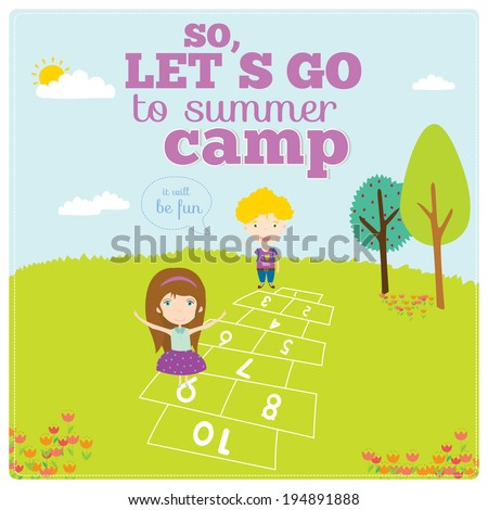 Vector illustration boys and girls in a funny and cartoon style design with place for text. Bright background with cute elements. Spring or summer season. Template for Travel and Camp. - stock vector