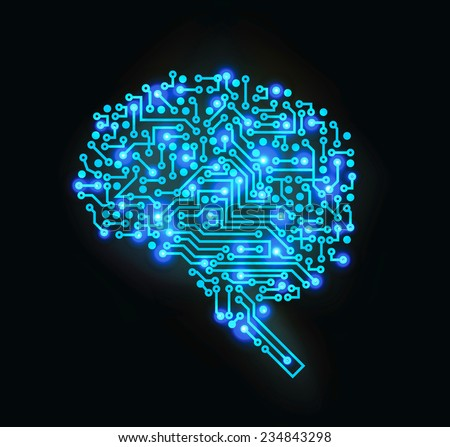 Vector illustration brain modern concept - stock vector