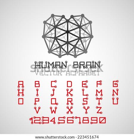 Vector illustration. Brain style technical alphabet font set. - stock vector