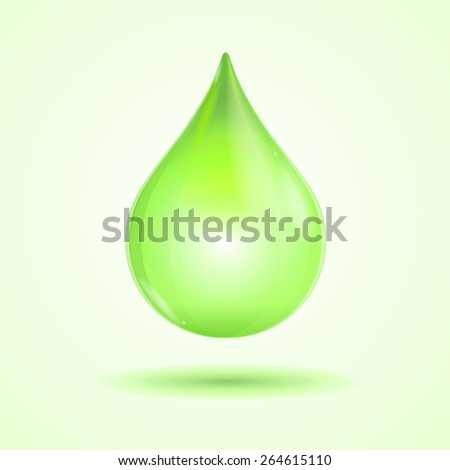 Vector illustration bright green drop isolated on white background - stock vector