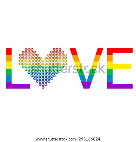 """Vector illustration: bright inscription """"Love""""  made of rainbow strips and crystal heart isolated on white background - stock vector"""