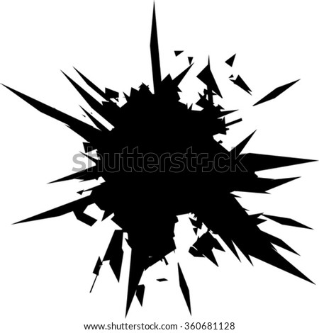 Vector illustration. Broken glass  with sharp edges background. Comic book style. Image with place for text.