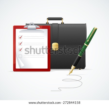 Vector illustration brown briefcase, cuitcase checklist and pen  isolated on white background. Business concept - stock vector