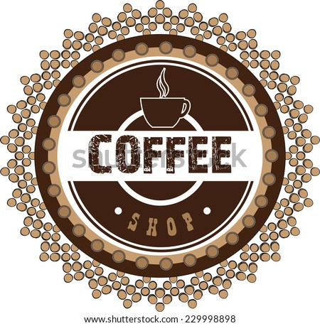 Vector illustration. Brown grunge stamp with coffee cup and the text coffee written inside - stock vector