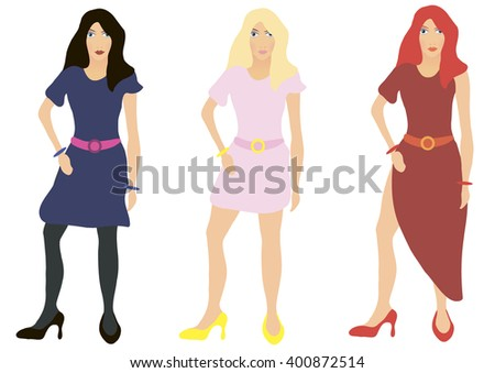 Vector illustration. Brunette, blonde and red-haired girl on a white background.