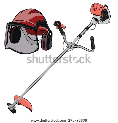 Vector illustration, brushcutter and helmet, cartoon concept, white background.