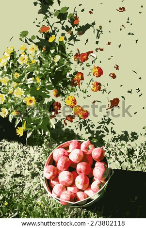 vector illustration bucket full of apples on the earth on a background of flowers - stock vector