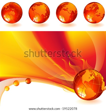 vector illustration - burning globe on a red abstract background