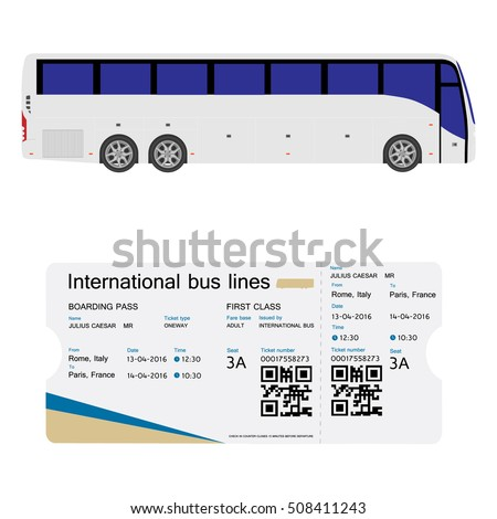 Vector Illustration Bus Boarding Pass Ticket Stock Vector