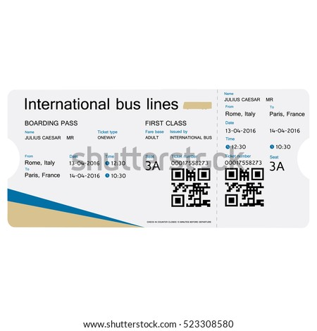 Vector Illustration Bus Ticket Template Design Isolated On White. Realistic  Transport Ticket With Bar Code  Bus Pass Template