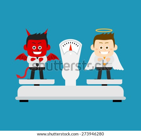 Vector illustration - Business angel and Evil on scale - stock vector