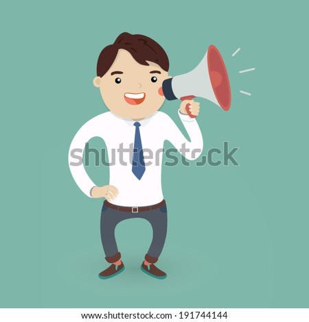 vector illustration business concept  young man (businessman character) with a megaphone or loudspeaker  - stock vector