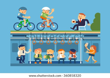 Vector Illustration Business People and Commute to Work by Subway, Metro, and Relaxing in Park, Business Concepts. - stock vector