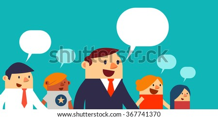 Vector Illustration Business Peoples and Speech Bubbles, Web Banner. - stock vector