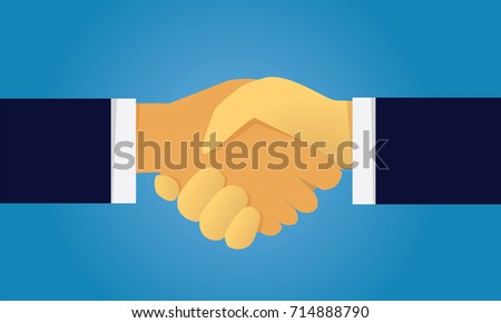 Vector illustration. Business teamwork deal agreement partnership concept. Businessmen shaking hands together