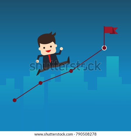 Vector illustration. Business vision or start up concept. Businessman running on graphs and building background, business concept to success ,Path to the goal, Business cartoon concept character.
