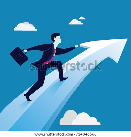 Vector illustration. Business Vision Success Concept. Businessman holding working bag while riding on raised up success arrow