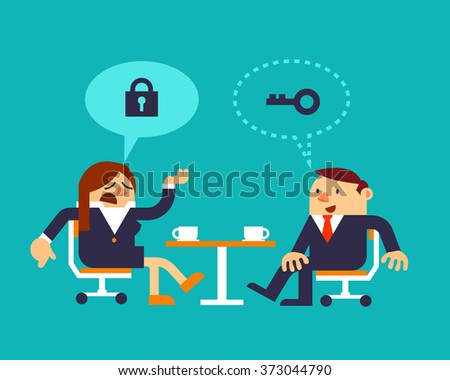Vector Illustration Business Woman and Businessman Discussing about Solutions or Strategy, Business Relation Concepts. - stock vector