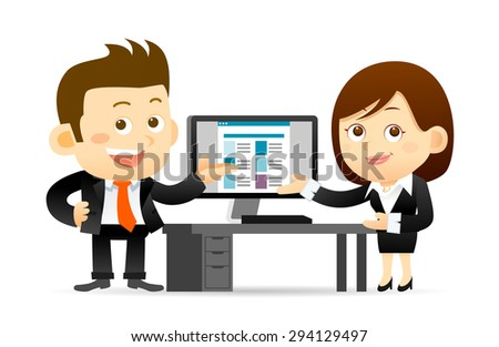 Vector illustration - Businessman and businesswoman working at computer