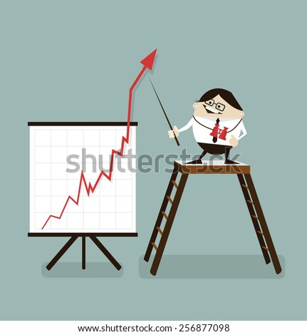 Vector illustration Businessman and positive graph,businessman proudly present growing business statistics and profit. Business concept.   - stock vector