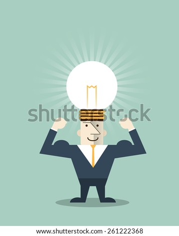 Vector illustration businessman creative light bulb with human head symbol, thinking about success solution - stock vector
