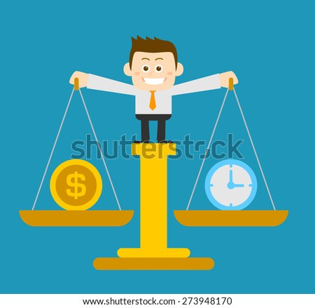 Vector illustration - Businessman holding scale - stock vector
