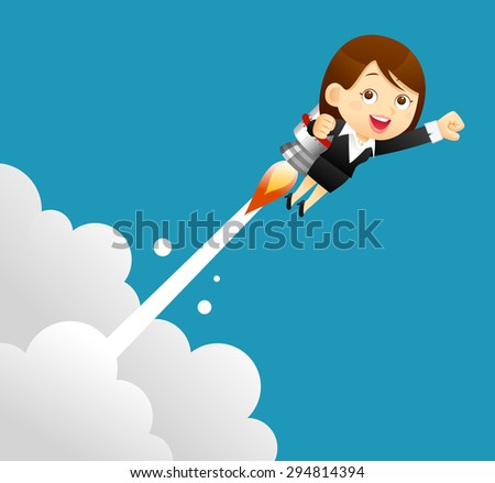 Vector illustration - businesswomen with a bulb rocket.  - stock vector