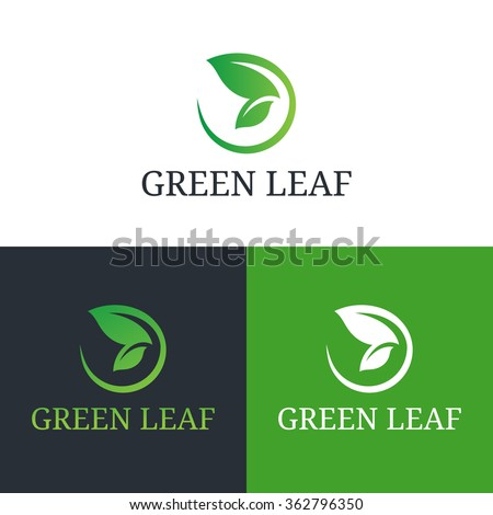 Vector illustration butterfly wing leaf. Health care, beauty, domestic or natural food logo template. - stock vector