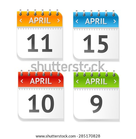 Vector illustration Calendar April with Dates set isolated on a white background. Flat Design - stock vector