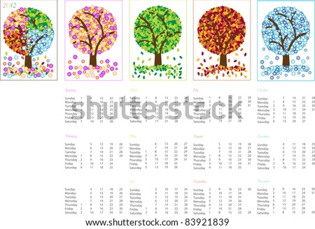 vector illustration, 2012 calendar,title page and four pages with months,spring,summer,autumn,winter - stock vector