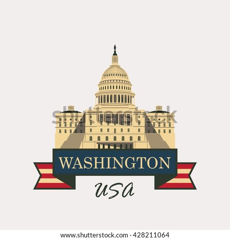 Vector illustration Capitol Building in Washington, DC with flag USA - stock vector