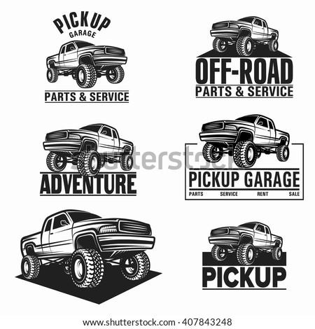 Vector illustration car truck 4x4 pickup - stock vector