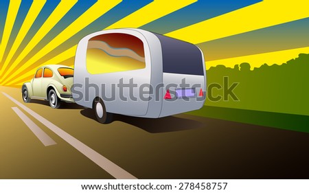 Vector Illustration Car With A Mobile Home Trailer Leaving At The Distance Sunset