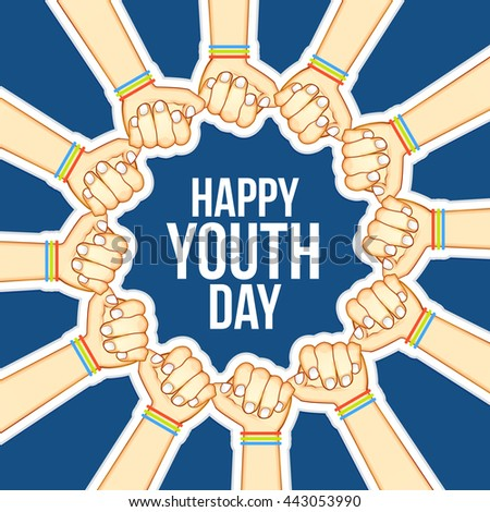 vector illustrationcardbanner poster international youth day stock rh shutterstock com Youth and Young Adult Ministry Clip Art Youth Church Bulletin Clip Art